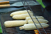 Peeled raw corns on the grill — Stock Photo