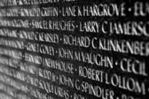 Vietnam war casualties on Vietnam War Veterans Memorial — Stock Photo
