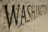 Washington sign on World War II memorial in Washington DC. — Stock Photo