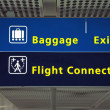 Airport direction flight connection, baggage and exit sign — Stock Photo