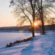 Winter sunset time in the poland — Stock Photo