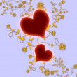 Stock Photo: Floral hearts on the blue background