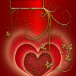 Red heart on the silky shine background - Stock Photo