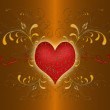 Red heart on the gold background — Stock Photo
