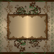 Royalty-Free Stock Photo: Vintage green floral golden frame