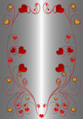 Red hearts on the platinum background — Stock Photo