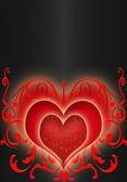 Red hearts on the black background — Stock Photo