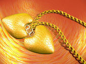3d two gold hearts — Stock Photo