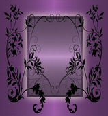 Purple floral with black template vintage — Stockfoto