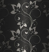 Silver with black floral vintage — Stock Photo