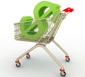 The cart from supermarket with sign dollar inside — Stock Photo