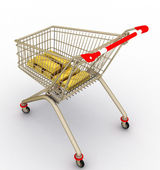 The store cart with gold ingots — Stockfoto