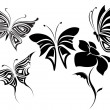 Stock Vector: Butterflies tribal