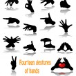 Fourteen gestures of hands — Stock Vector