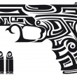 Stock Vector: Gun Tribal