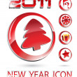 New Year icons — Stock Vector