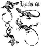 LIZARD TATTOO SET — Stock Vector