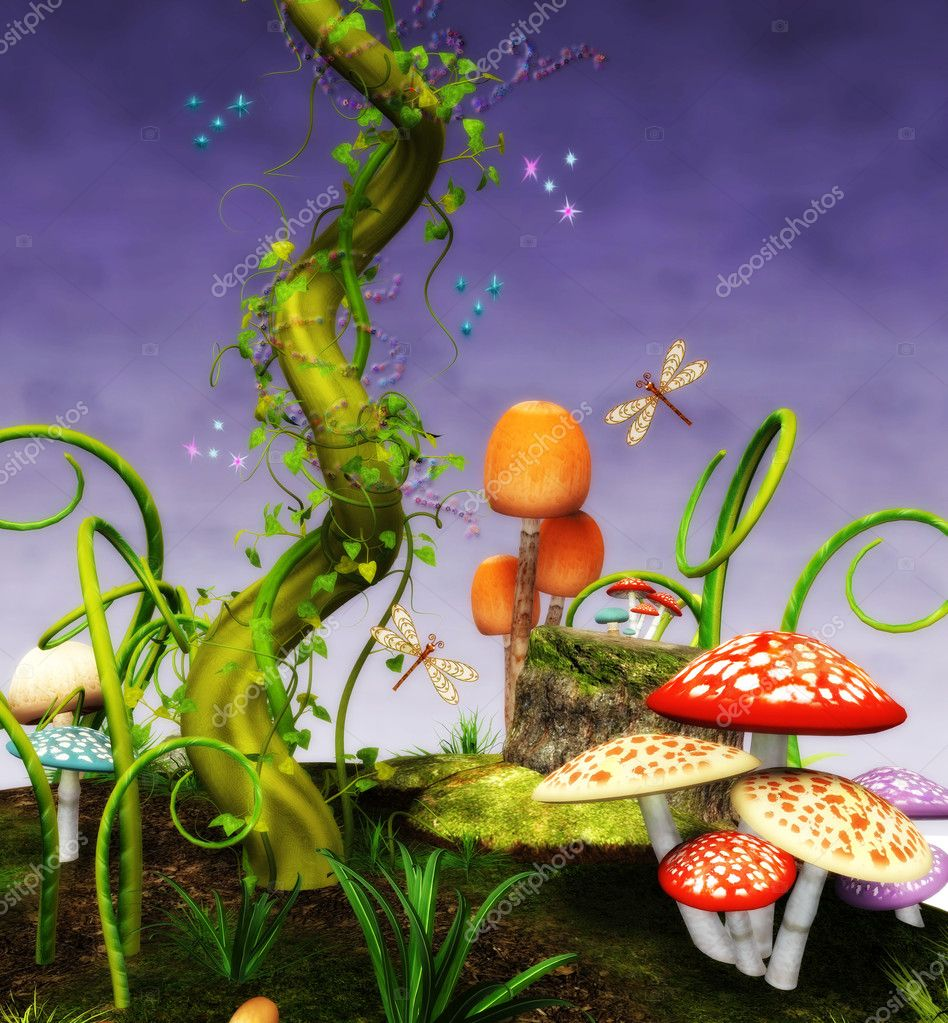 Fantasy background with mushrooms,magic beans and sparkles  Stock Photo #4987257