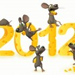 Happy new year with cheese and mice - Stock Photo