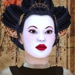 Geisha portrait - Stock Photo