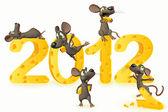 Feliz ano novo com o queijo e os ratos — Foto Stock