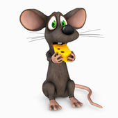 Mouse eating cheese — 图库照片