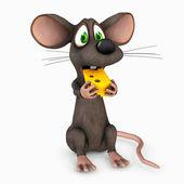 Ratón come queso — Foto de Stock