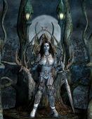 Vrouw op een fantasie troon in het hout — Stockfoto