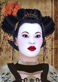 Geisha portrait — Stock Photo