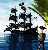 Skeleton Pirate and Ghost Ship — Stock Photo
