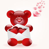 Bear with love letter — Vector de stock