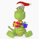 lindo dragón con sombrero de regalo y santa — Foto de Stock