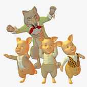 Big bad wolf and three little pigs — Stock Photo