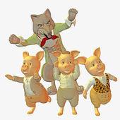 大きな悪いオオカミと三匹の子ぶた — ストック写真