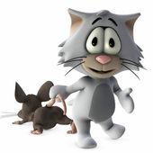 Kat en muis — Stockfoto