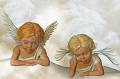 Two guardian angels — 图库照片