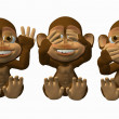 See No Evil. Speak No Evil, Hear No Evil Monkeys — Stockfoto #5045759