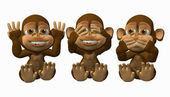 See No Evil. Speak No Evil, Hear No Evil Monkeys — Stockfoto