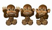 Zie geen kwaad. spreek geen kwaad, geen kwaad apen horen — Stockfoto