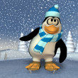 Pinguin on a frozen pond — Stockfoto
