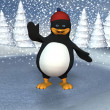 Pinguin on a frozen pond - Stock Photo