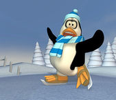 Pinguin on a frozen pond — Stock Photo