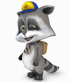 Cute raccoon with schoolbag — Stock Photo