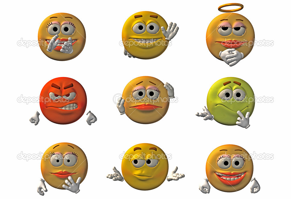 Set of 9 3D emoticons - smileys — Stock Photo #5089180