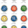 Glossy buttons with zodiac signs isolated on white — Stok fotoğraf