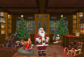 Happy santa with a lot of gifts in a shopping room — ストック写真