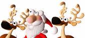 Happy santa and his reindeers — Stock Photo