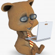Cute bear with a laptop — Stok fotoğraf