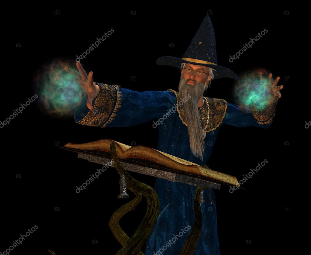 Old wizard casting a spell  — Stock Photo #5324680