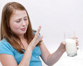Redhead Girl and milk — Stock Photo